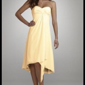 David's Bridal Canary Yellow Strapless Dress